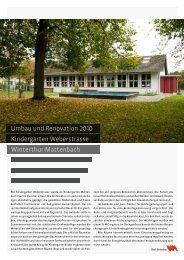 Kindergarten Weberstrasse - Departement Bau - Winterthur