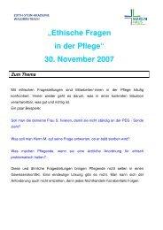 """""""Ethische Fragen in der Pflege"""" 30. November 2007 ... - Ethik konkret"""
