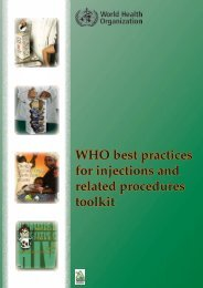 WHO best practices for injections and related procedures toolkit
