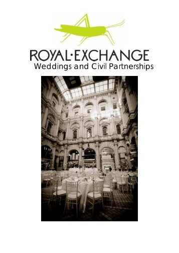 Weddings and Civil Partnerships - Royal Exchange Grand Café