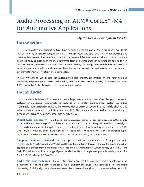 Audio Processing on ARM Cortex-M4 for Automotive Applications