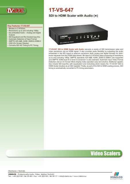 Video Scalers 1T-VS-647 - VIDELCO