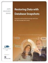 NEW! — Restoring Data with Database Snapshots - ASPE