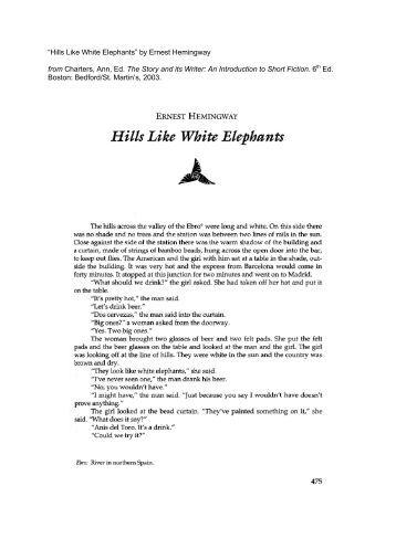 hemingway hills like white elephants interpretation best hills like white elephants ysis essay