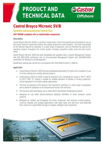 PRODUCT AND TECHNICAL DATA Castrol Brayco ... - ER Trading AS