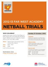 NETBALL TRIALS - NSW Sport and Recreation - NSW Government