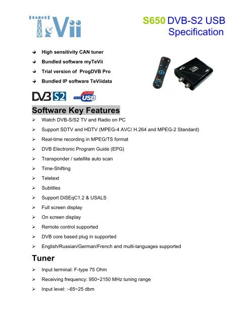 DRIVERS FOR TEVII H650 DVB-T2 USB