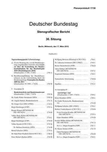 Stenografischer Bericht 30. Sitzung - Bundestag - Deutscher ...