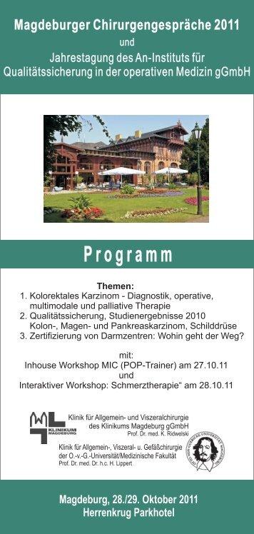 Magdeburger Chirurgengespräche 2011 - Städtisches Klinikum ...