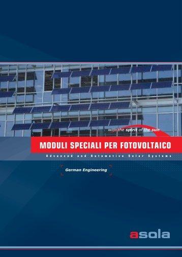 """brochure """"Moduli speciali per fotovoltaico"""" - asola"""