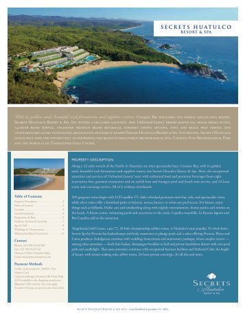 SECRETS HUATULCO With its golden sand, beautiful ... - Amresorts