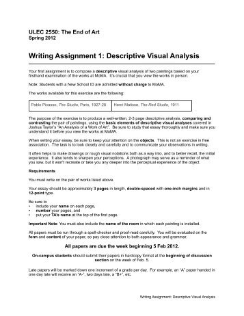 a descriptive essay consi writing assignment 1 descriptive visual analysis timothy r quigley