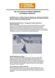 Die Top-Termine im Winter 2009/2010 am Stubaier Gletscher