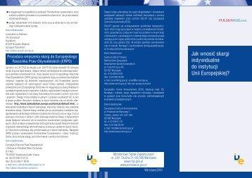 Jak wnosić skargi indywidualne do instytucji Unii Europejskiej?
