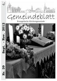 Nr. 39 Sept. - Nov. 2012 - Evangelische Kirchengemeinde ...