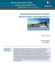 Factoria Recycling and Transfer Station Project Oversight Report