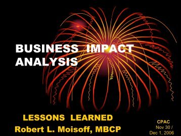 business impact analysis - Contingency Planning Association of the ...