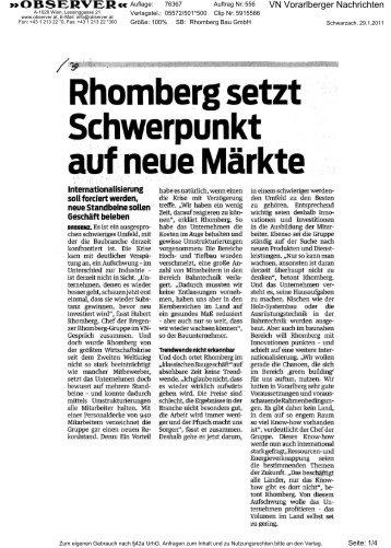 VN Vorarlberger Nachrichten - Rhomberg Bau Gmbh