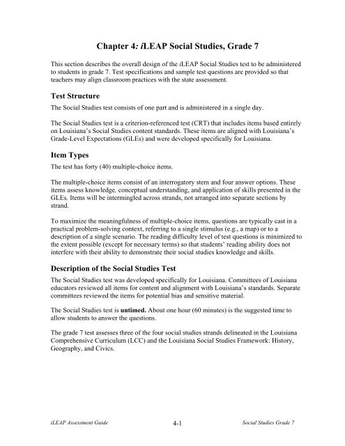 Chapter 4: iLEAP Social Studies, Grade 6