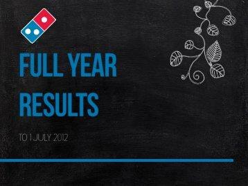 2012 Full-Year Market Presentation 14 August 2012 - Domino's Pizza