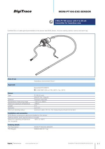 MONI-PT100-EXE-SENSOR - Tyco Thermal Controls