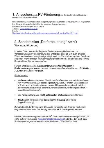 dem Infoblatt zum Thema Förderungen & Aktionen - Gemeinde Berg