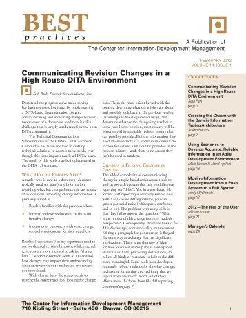 February Volume 14, Issue 1 - Center for Information-Development ...