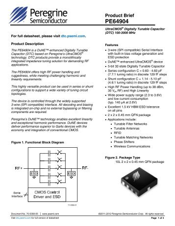 PE64904 Product Brief - Peregrine Semiconductor