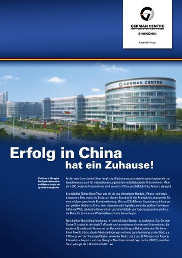 Erfolg in China - German Centre Shanghai