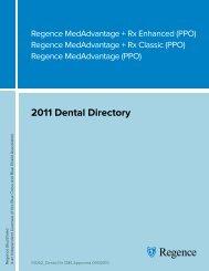 2011 Dental Directory - Regence