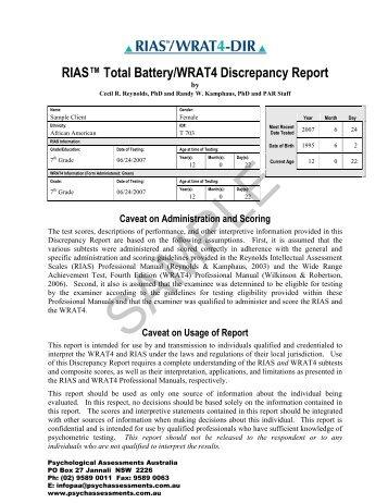 "RIASâ""¢ Total Battery/WRAT4 Discrepancy Report - Psychological ..."