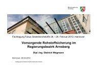 Vorsorgende Rohstoffsicherung im Regierungsbezirk Arnsberg - Vero