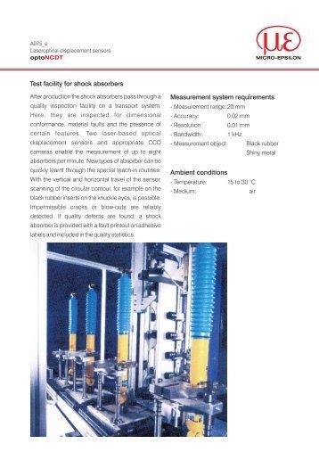 Test facility for shock absorbers Measurement ... - Micro-Epsilon