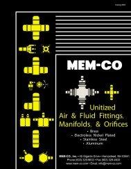 Unitized Air & Fluid Fittings, Manifolds, & Orifices - MEM-CO