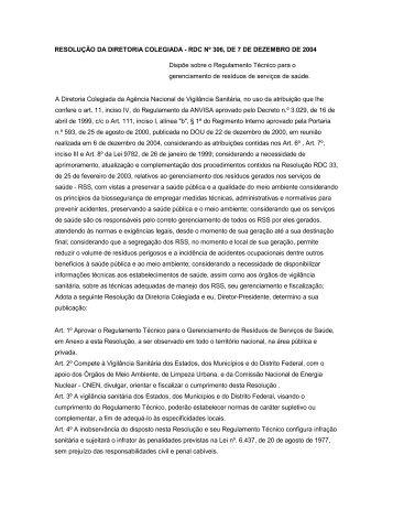 Resolução RDC ANVISA nº 306, de 07 de dezembro de 2004