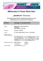 "MEDucation ® Center Rhein Ruhr ""hands-on"" Workshop - igost"