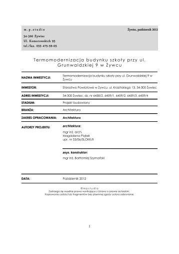 m.p.studio 34-300 Å»ywiec Ul. Komorowskich 95 tel./fax. 033 475-59 ...