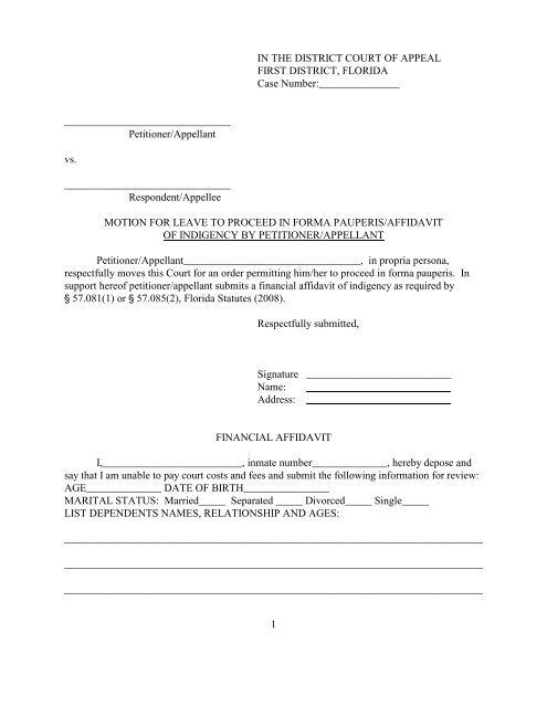 Motion for Leave to Proceed in Form Pauperis/Affidavit of