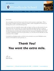 Thank You! You went the extra mile. - Woodlynde School