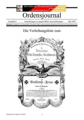 Ordensjournal - Deutsche Orden & Ehrenzeichen