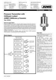Pressure Transmitter with CANopen output JUMO CANtrans p ...