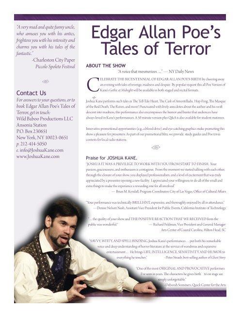 Edgar Allan Poe's Tales of Terror - Schauer Arts