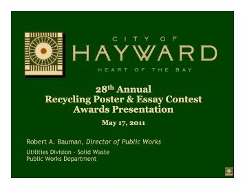 28th Annual Recycling Poster & Essay Contest A d P i A d P i ...