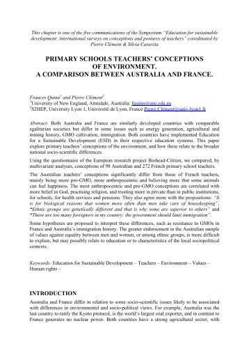 Primary schools teachers' conceptions of environment. a ... - ESERA