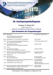 26. Insulinpumpenkolloquium - Diabetes Zentrum Mergentheim