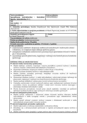 Program kursu Instruktor Sportu z koszykówki, WF, II rok, I stopnia ...