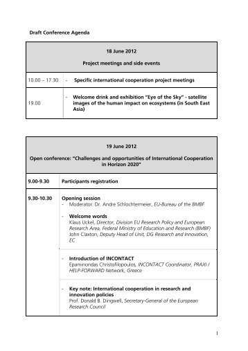 Draft Conference Agenda 18 June 2012 Project meetings and side ...