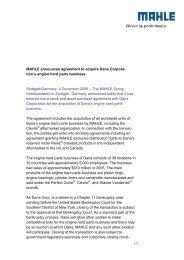 MAHLE announces agreement to acquire Dana ... - mahle.com