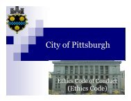 The Ethics Code Is - City of Pittsburgh