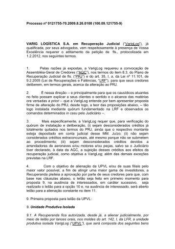 Plano Protocolado 0121755-70.2009.8.26.0100 - VarigLog